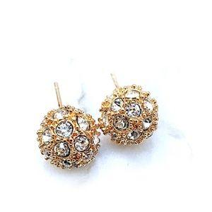 Gold Rhinestone Ball Studs